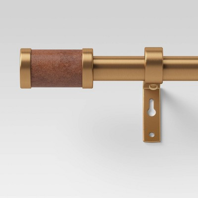 Faux Leather Cylinder Plated Curtain Rod Brass - Threshold™
