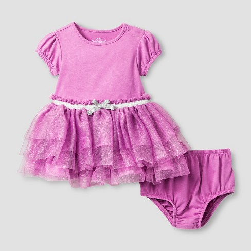 Baby Girls' Short Sleeve Tutu Dress Cat & Jack™  - Violet - image 1 of 2