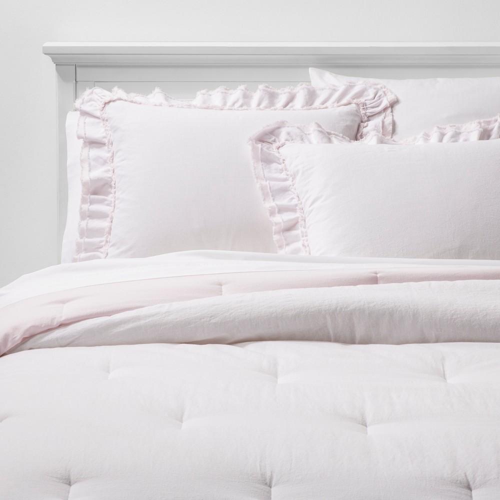Excellent Fullqueen Ruffle Edge Comforter Sham Set Pink Simply Shabby Chic Download Free Architecture Designs Scobabritishbridgeorg