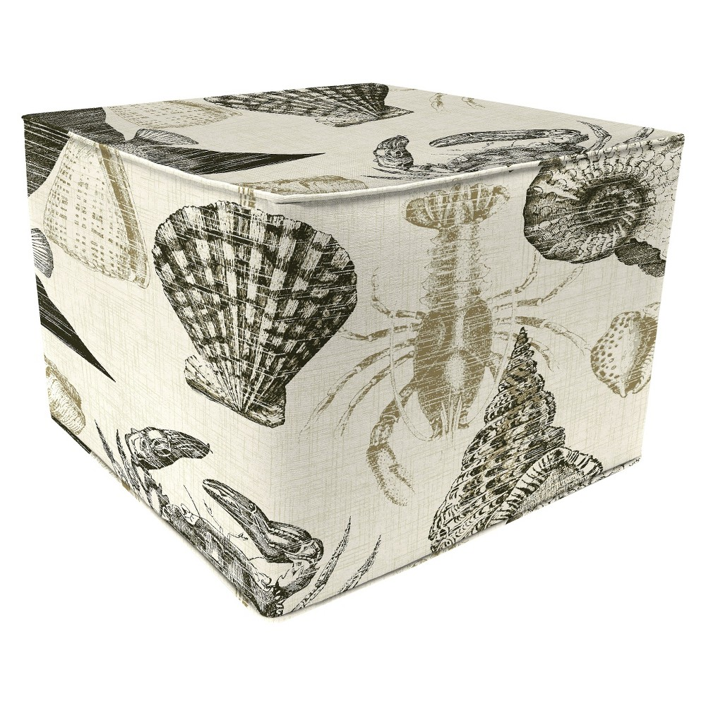 Patio Square Pouf Ottoman - Sealife Driftwood 20 x 15