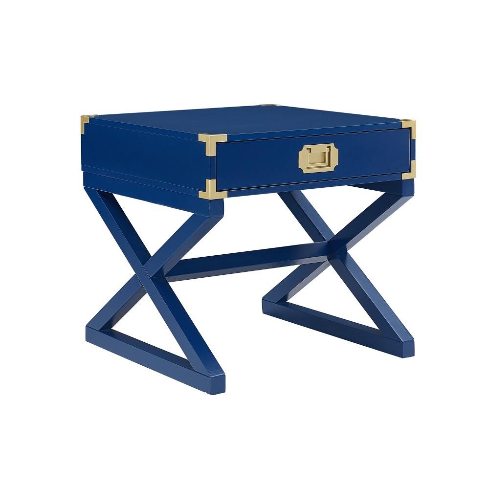 Claude Campaign End Table Navy (Blue) - Aiden Lane
