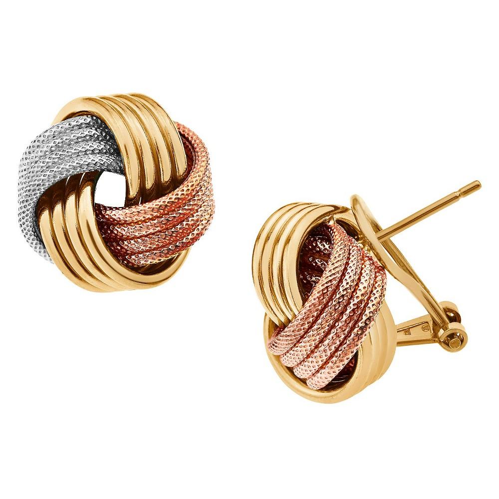Italian Omega Love Knot Earrings in Tri-Color Silver, Girl's