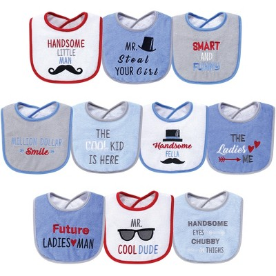 Hudson Baby Infant Boy Cotton Terry Drooler Bibs with Fiber Filling 10pk, Handsome Eyes, One Size