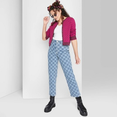 Women's Super-High Rise Checkered Straight Jeans - Wild Fable™ Medium Blue