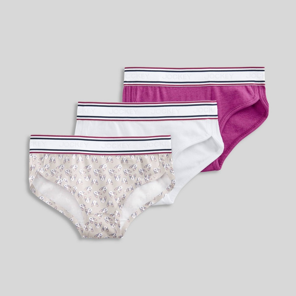 Image of Jockey Generation Girls' Retro Vibes Hipster Briefs - White/Puppy/Pink L, Girl's, Size: Large