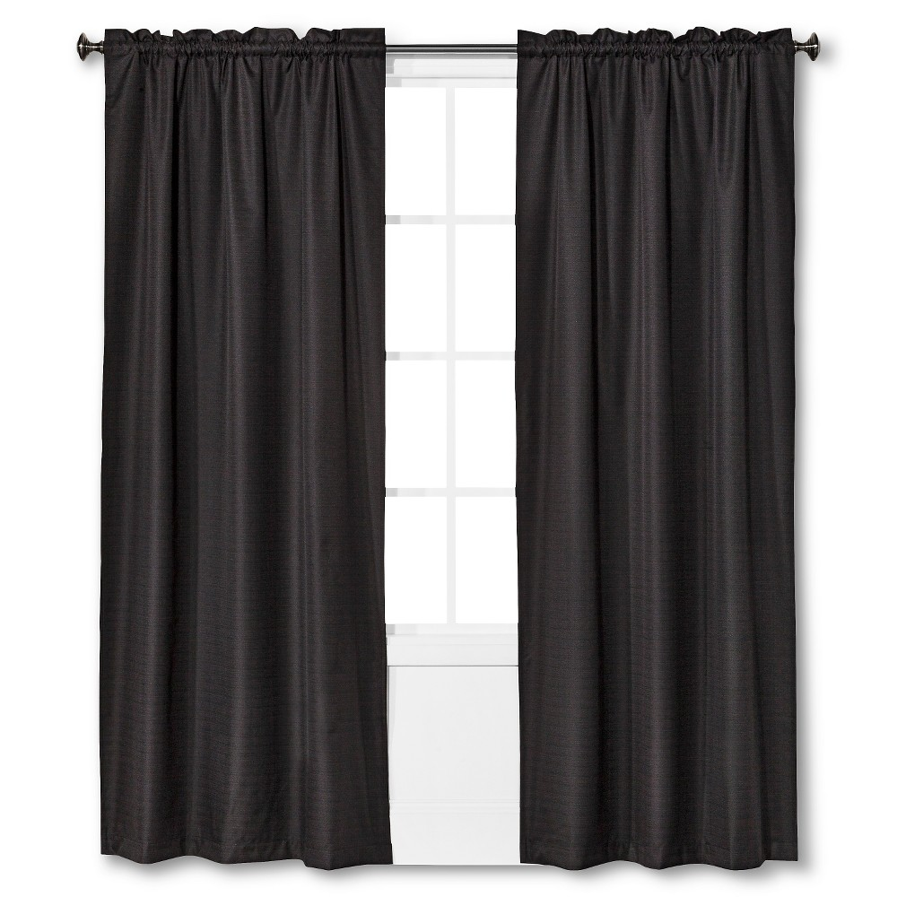 "Image of ""42""""x95"""" Braxton Thermaback Blackout Window Curtain Panel Black - Eclipse"""