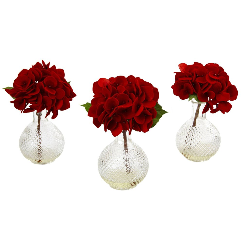 """Image of """"12"""""""" x 8"""""""" 3pc Artificial Red Hydrangea with Glass Vase - Nearly Natural"""""""