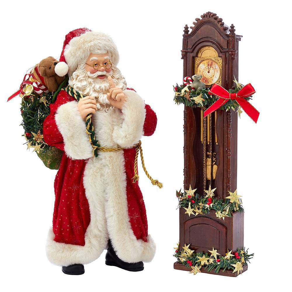 "Image of ""12""""/2pc Kurt Adler Santa and Clock Decorative Sculpture Set"""