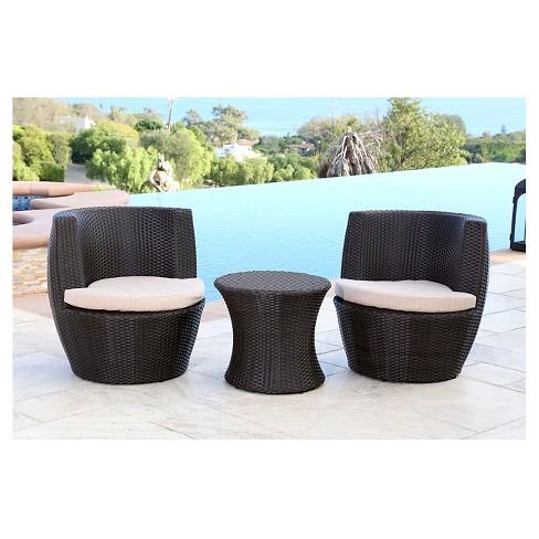 Newport Outdoor Wicker 3 Pc Bistro Chair Set Espresso Abbyson