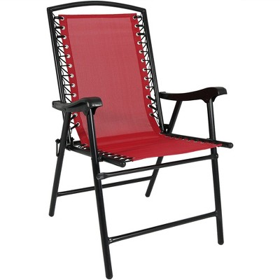 Outdoor Folding Suspension Lounge Chair   Red   Sunnydaze Decor