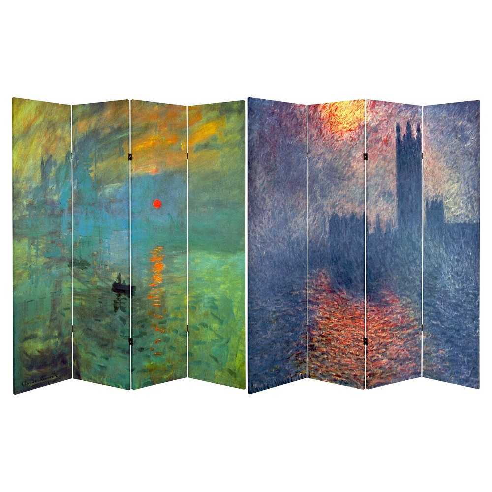 Monet Fine Art Double Sided Room Divider Impression Sunrise And Houses Of Parliament Oriental Furniture