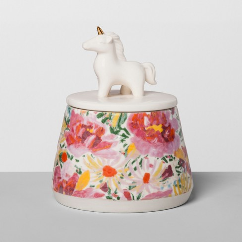 Floral Stoneware Container with Ceramic Unicorn Lid Pink - Opalhouse™ - image 1 of 2