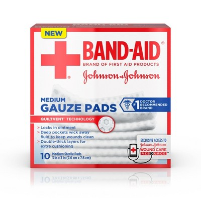 Johnson & Johnson 3'' Medium Gauze Pads - 10ct