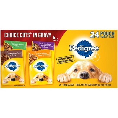 Pedigree Pouch Choice Cuts In Gravy Wet Dog Food - 3.5oz/24ct Variety Pack