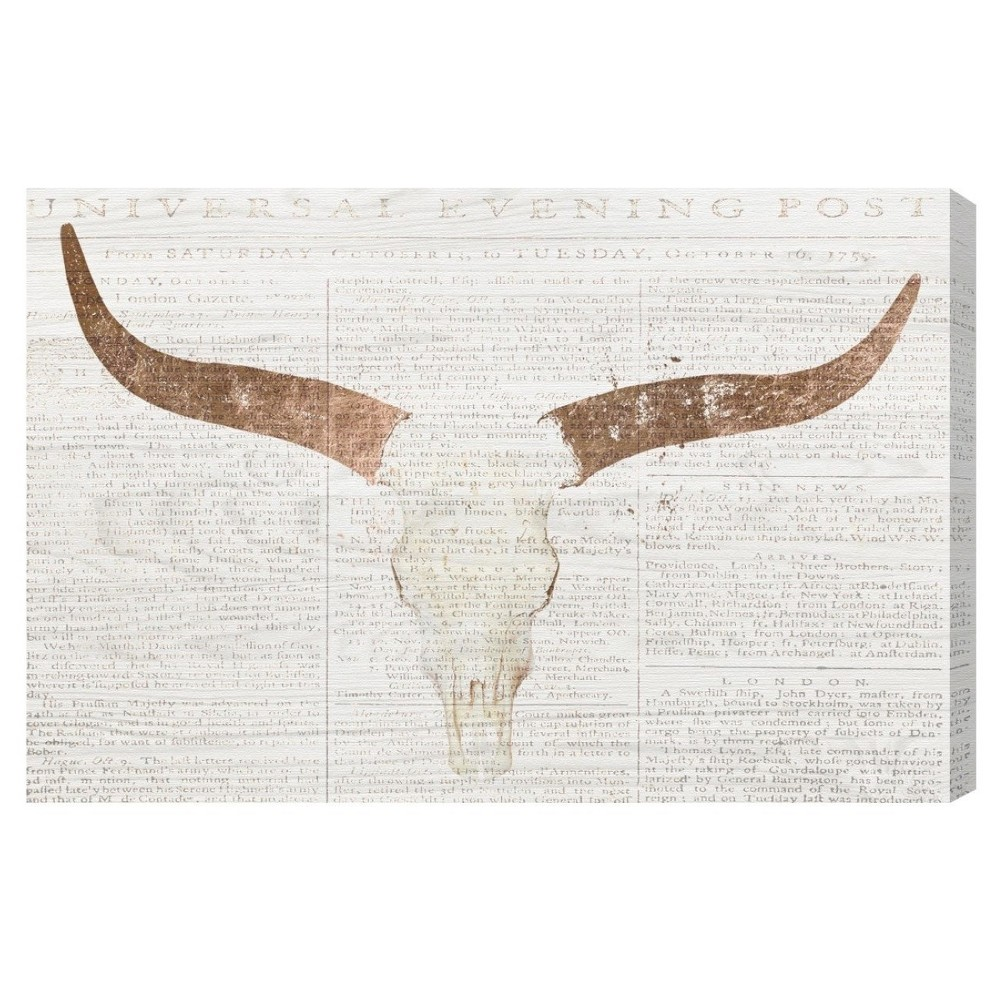 16 34 X 24 34 Evening Rose Skull Symbols And Objects Unframed Canvas Wall Art In White Oliver Gal