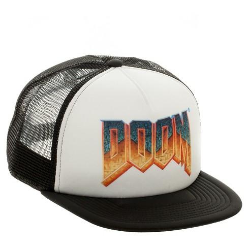d1865b59092 Men s DOOM® Baseball Trucker Hat - White Black One Size   Target