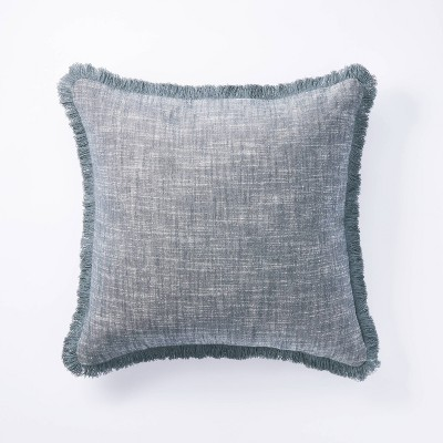 Square Woven Textured Pillow Blue - Threshold™ designed with Studio McGee