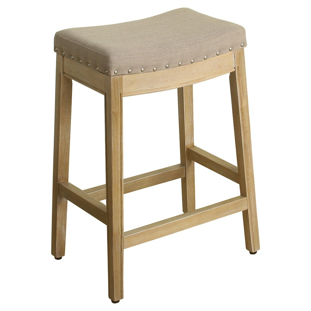 "Image of ""24"""" Blake Backless Counter Stool with Nailheads Putty - HomePop"""