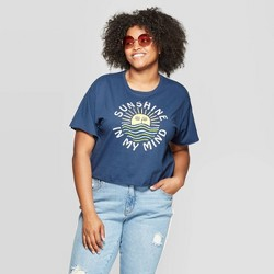 5b90bd140 Women's Plus Size Short Sleeve Sunshine in My Mind Cropped Graphic T-Shirt  (Juniors