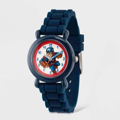 Toddler's Marvel Captain America Plastic Time Teacher Watch - Blue
