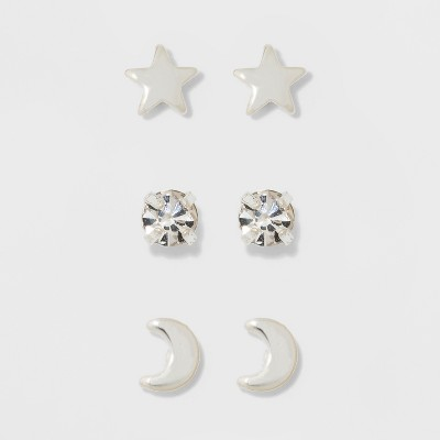 Pair of Star, Moon, and Cubic Zirconia Button Earring Set 3pc - A New Day™ Silver