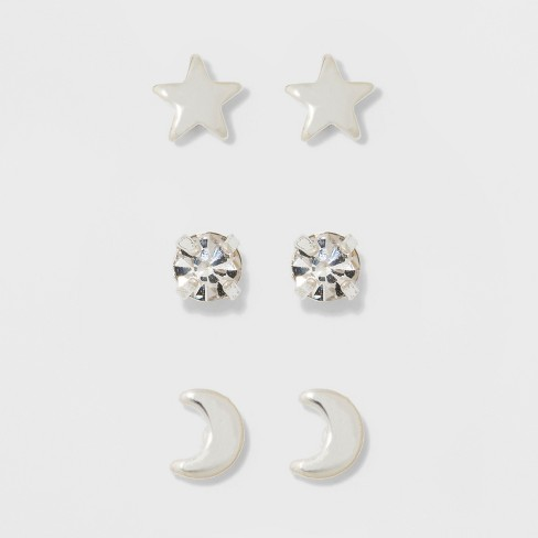Pair of Star, Moon, and Cubic Zirconia Button Earring Set - A New Day™ Silver - image 1 of 3