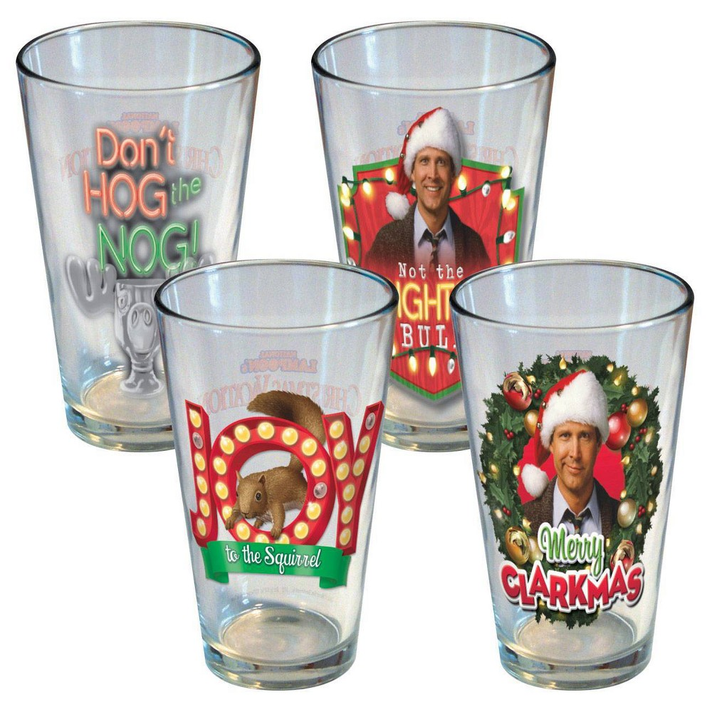 Image of National Lampoon 16oz 4pk Holiday Lights Pint Glasses