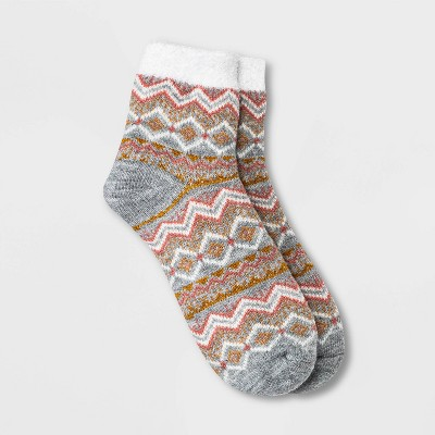 Women's Fair Isle Double Lined Cozy Ankle Socks - A New Day™ Heather Gray/Pink/Gold 4-10