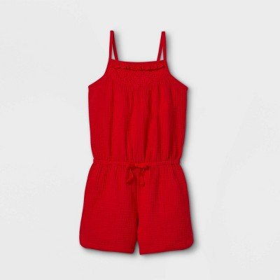 Girls' Eyelet Sleeveless Romper - Cat & Jack™ Red
