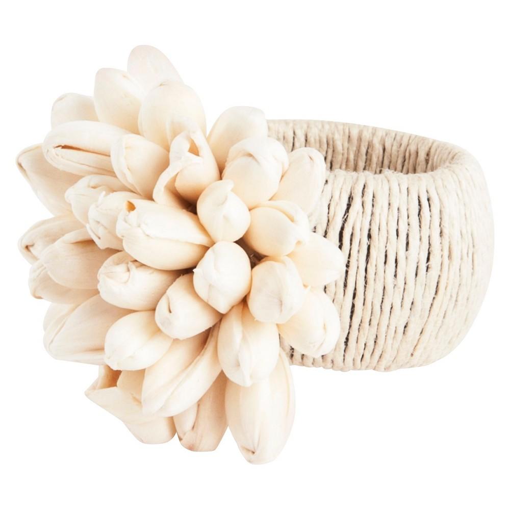 Petite Tulip Design Napkins Rings - Natural (Set of 4), Neutral