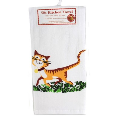 """Tabletop 24.0"""" Happy Cat Flour Sack Towel 100% Cotton Retro Design 1950 Red And White Kitchen Company  -  Kitchen Towel"""