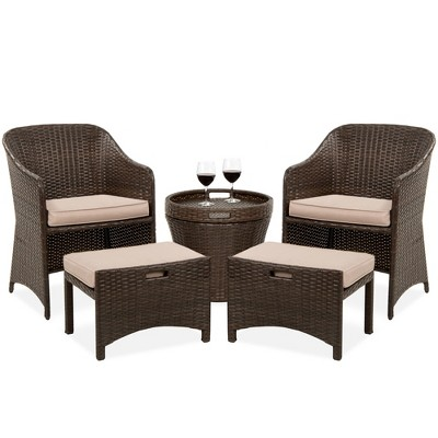 Best Choice Products 5-Piece Outdoor Wicker Patio Bistro Space Saving Furniture Set w/Storage Table, No Assembly