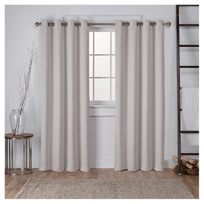 """Set of 2 Sateen Twill Weave Insulated Blackout Grommet Top Window Curtain Panels Silver (52 X 84"""")- Exclusive Home"""