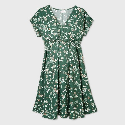 Floral Print Short Sleeve Crepe Maternity Dress - Isabel Maternity by Ingrid & Isabel™ Green S