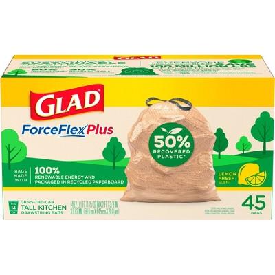 Glad ForceFlexPlus Recovered Plastic Trash Bag - Lemon Fresh - 13 Gallon - 45ct