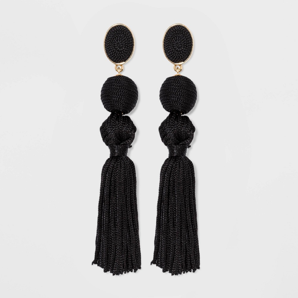 Image of SUGARFIX by BaubleBar Ball Drop Tassel Earrings - Black, Women's, Size: Small