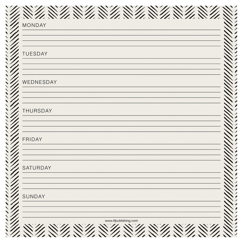 TF Publishing Black and Ivory Weekly Non-Dated Adhesive Desk Pad, (7.75 x 7.75), Black/White