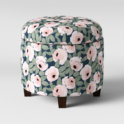 Phenomenal Trappe Round Storage Ottoman Floral Rose Print Threshold Gmtry Best Dining Table And Chair Ideas Images Gmtryco