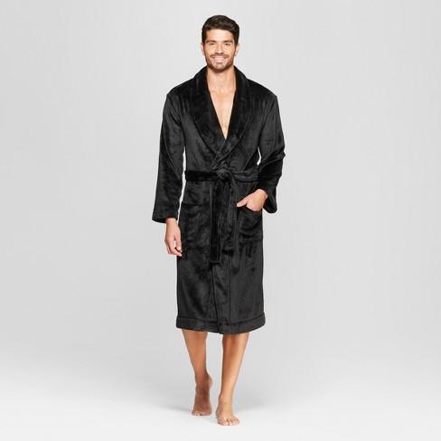 Men s Plush Robe - Goodfellow   Co™ Black   Target 7110f359b