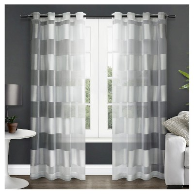 Easier tell, Striped white sheer panel curtains really