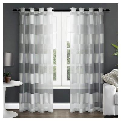 Easier tell, Striped white sheer panel curtains really