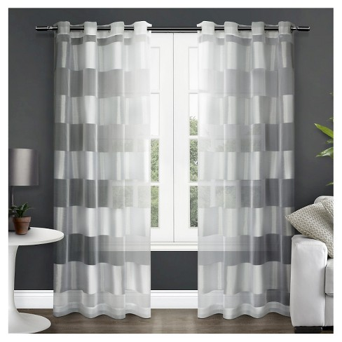 Set of 2 Navaro Striped Sheer Grommet Top Window Curtain Panels White Exclusive Home - image 1 of 4