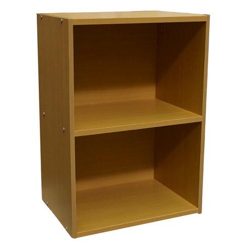 24 2 Level Bookshelf Tan Wood