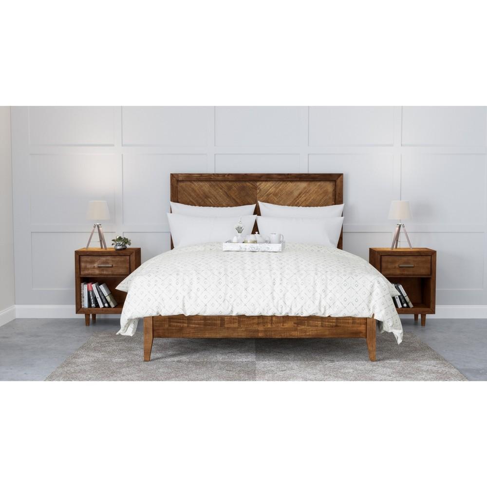 Image of 3pc Aurora Mid Century Bedroom Set King Brown - Abbyson Living