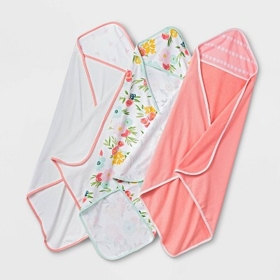 Baby Girls' 3pk Floral Fields Hooded Towel - Cloud Island™ Coral