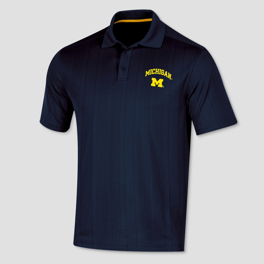 Michigan Wolverines Men's Short Sleeve Game Day Polo Shirt S, Multicolored
