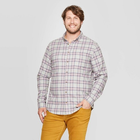 Men's Big & Tall Plaid Long Sleeve Flannel Button-Down Shirt - Goodfellow & Co™ - image 1 of 3