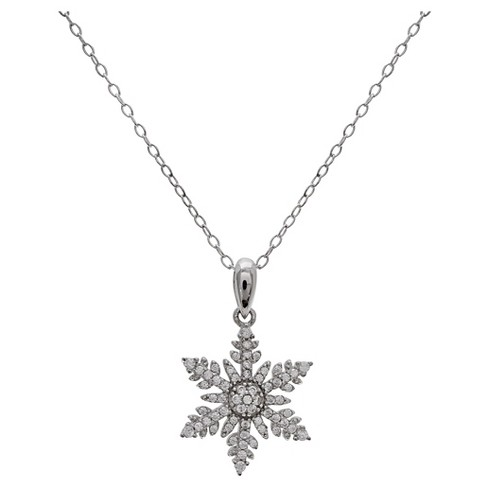 "Women's Snowflake Pendant with Pave Cubic Zirconia in Sterling Silver - Clear/Gray (18"") - image 1 of 1"