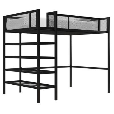 Tara Metal Storage Loft with Bookcase Navy/Black - Room & Joy