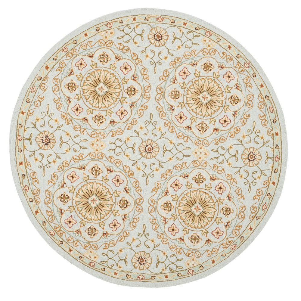 Teal Green Floral Hooked Round Accent Rug 3 Safavieh